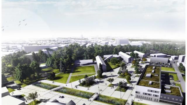 Une esplanade et une zone à 30 km/h vont relier la fac ( au fond)  et l'IUT  (au premier plan à gauche) . A droite, la future école d'infirmières.