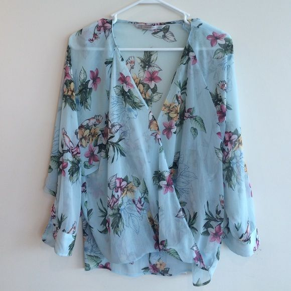 Floral sheer Zara top Only worn it a few times, looks brand new. Zara Tops Blouses
