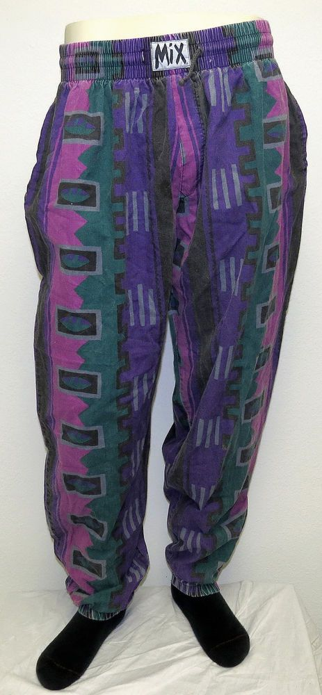 vtg purple black pink native mc hammer pants xl baggy crazy beach party #80s from $28.0