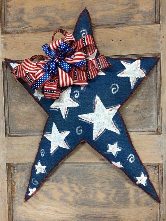 God Bless America!  Star Burlap Door Hanger