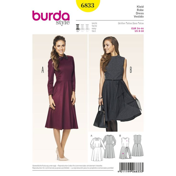 retro-style dresses with emphasized waists are in vogue again. nice form-fitting bodice and full flared, swingy skirt. a with collar of fancy fabric. overskirt b with an exciting mix of wool and tulle