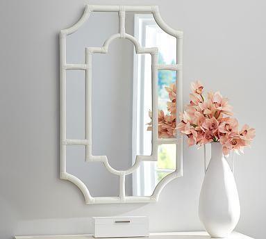Avery white bamboo mirror frame wall decorunique wall decorbath
