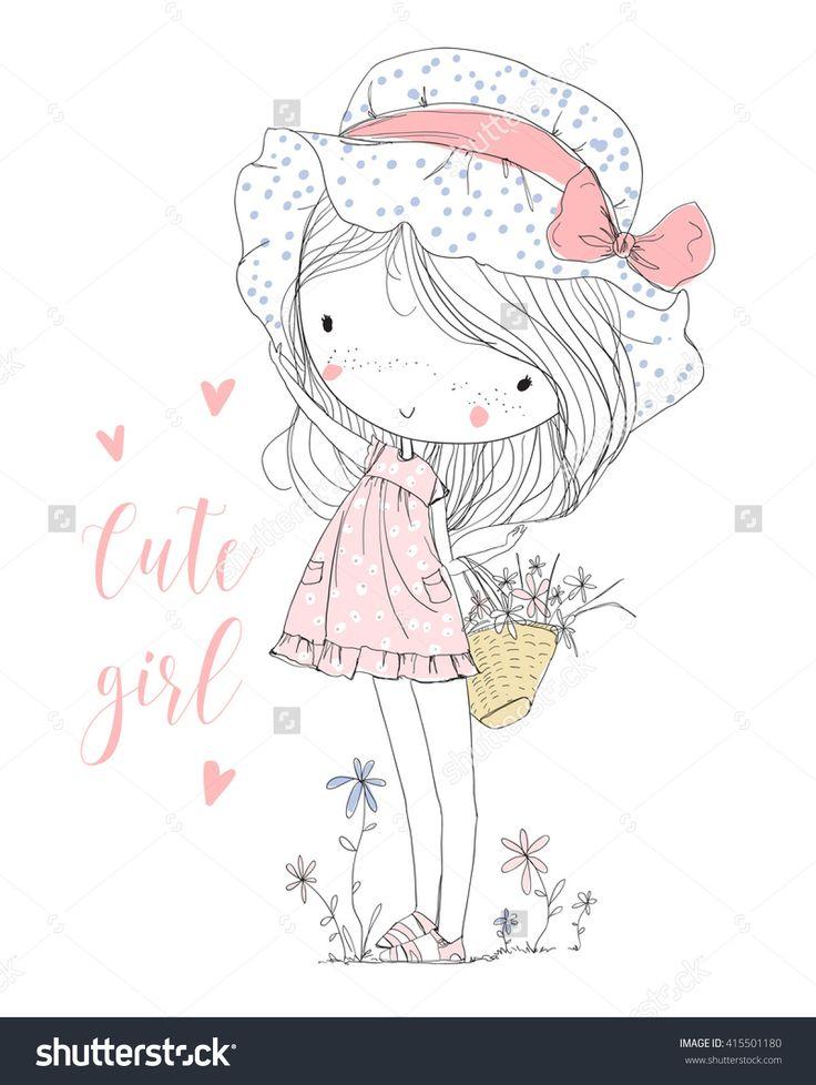 Cute Girl With Flowers Ilustración vectorial en stock 415501180 : Shutterstock