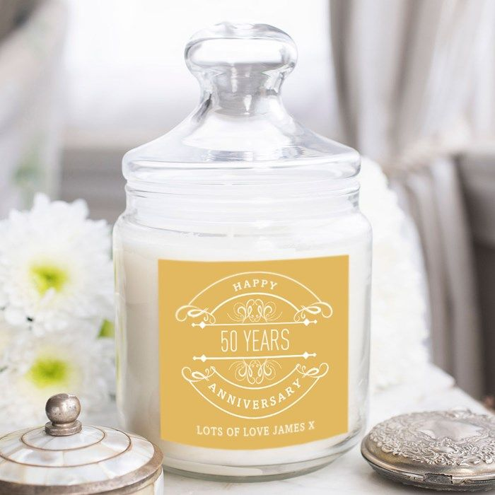 Personalised Deluxe Jar Candle - 50th Anniversary | GettingPersonal.co.uk