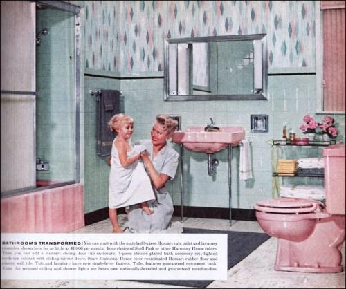 Retro Badezimmer, 1950 Bad, Modernes Badezimmer, Badezimmer Ideen, Bad  Rosa, Retro Küchen, 1950 Möbel, Bad Mitte Des Jahrhunderts, Halle