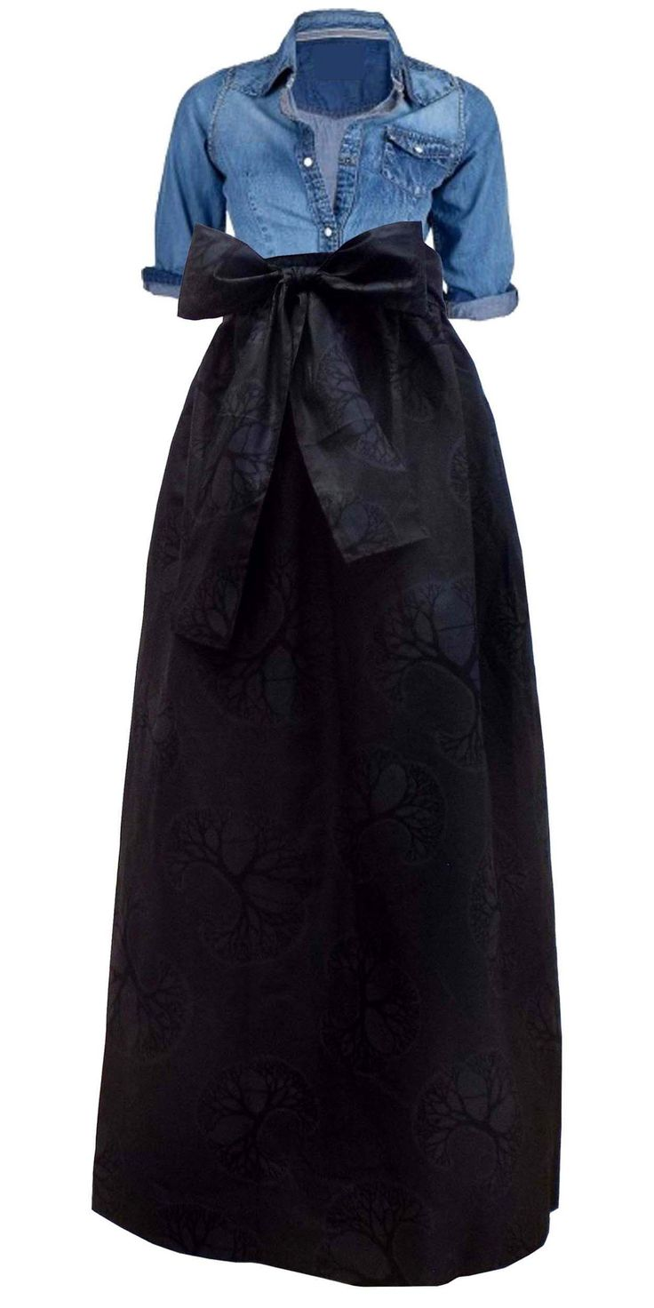 Fabulous Black African Print Maxi Skirt with Sash paired with denim top.