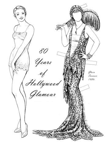 The set showcases eight decades of glitzy fashions in Tinseltown.  Some have appeared in movies, on TV, or gone to special events.  Everybody from Gloria Swanson to Cher.  5 pages, $8. To see more, click here  http://www.fancyephemera.com/hollywoodcostume2.html#HOLLYWOOD%20GLAMOUR