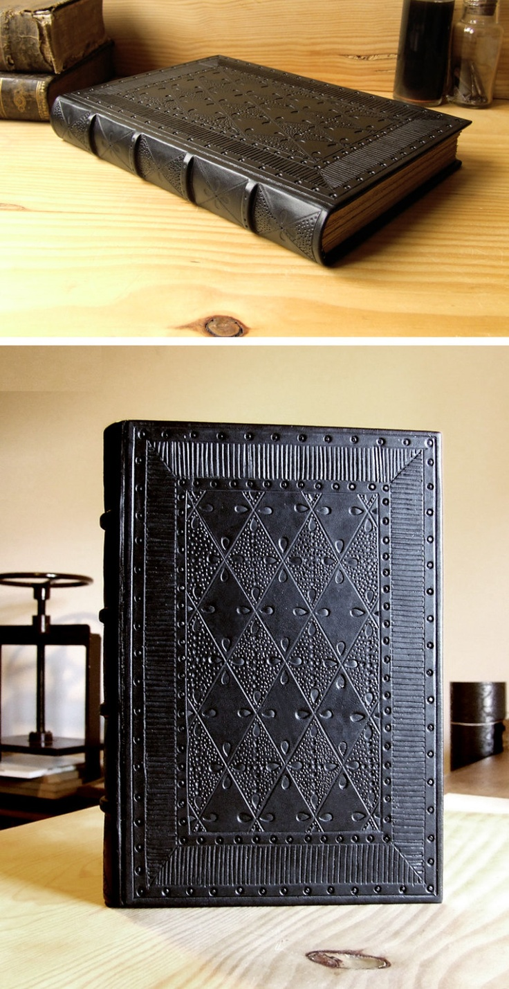 Leather Journal / Blank Book, Natural Black Leather, Tooled Decoration - Black Lace. via Etsy.