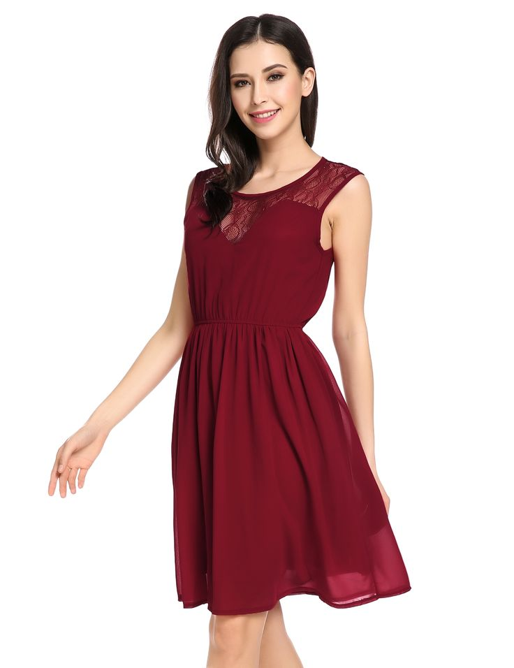 Wine red Lace Pleated Chiffon Dress