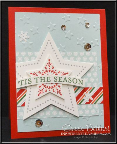 Many Merry Stars, Nordic Noel, Stampin' Up!, #stampinup, Lucky Stars, 'Tis the Season, Christmas card, Connie Babbert, www.inkspiredtreasures.com