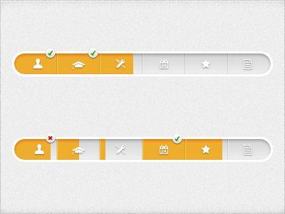 Tanke: Progressionsbar med completionrate og menufunktion for hvert symbol