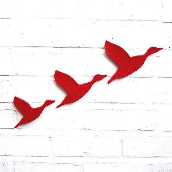 Ceramic wall art Three flying ducks set bright scarlet red Modern wall sculpture artwork Bathrooms kitchens living room