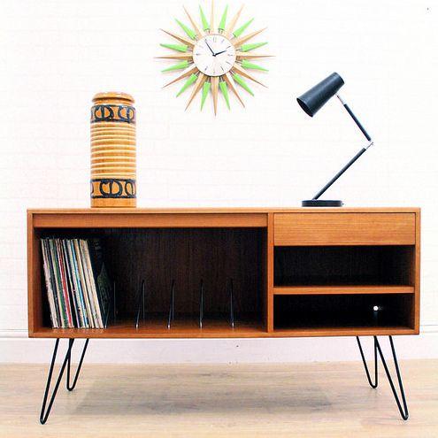 Vintage Teak G Plan Sideboard Record Storage Industrial On