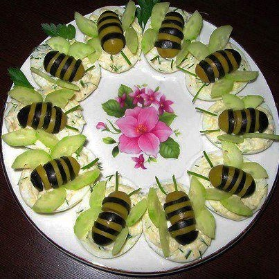 Green Black Olive Bee Appetizers