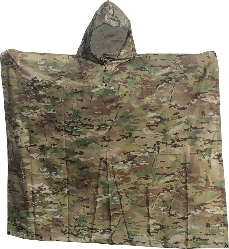 """Waterproof Ripstop Hooded Nylon Poncho Long 55 x 90"""" Made in U.S.A. (Multi Cam)"""