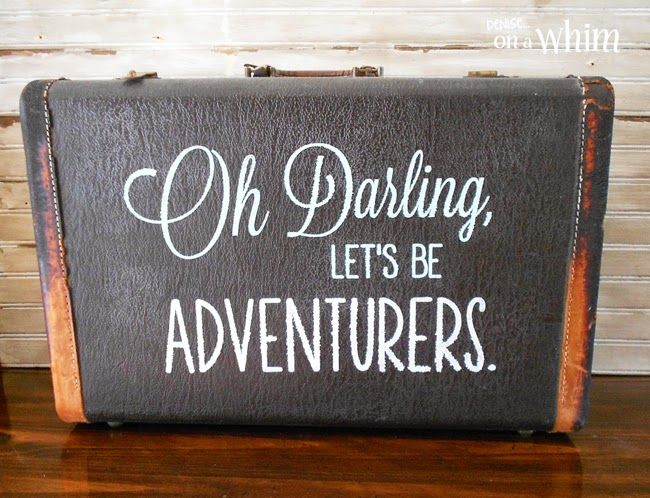 A Vintage Suitcase Repurposed as a Sign from Denise on a Whim