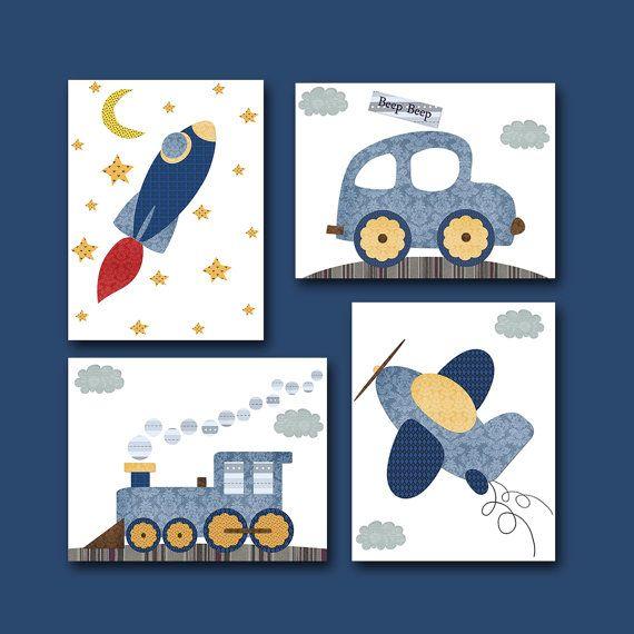 Auto Rakete Flugzeug Zug Baby Boy Kinderzimmer Dekor Kinder Print Baby Nursery Print Kindergarten Kunstdruck-Satz von 4 blau grau gelb Baby Geschenke Kinderzimmer Dekor Baby Kunst  UNGERAHMT - DIESER DRUCK IST AUF PAPIER ODER AUF LEINWAND *** 866-871-1174-1236  Um zu meinem Shop zurückzukehren, klicken Sie hier: http://www.etsy.com/shop/artbynataera  Satz von 4 print in Zoll. Es gibt ein zusätzliche 1/8 Zoll weißen Rahmen um die Print Gestaltung zu erleichtern. WICHTIG: Dies ist ein Druck…