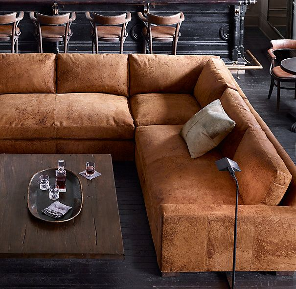 Maxwell leather sofa sectional available in cigar for Sofa rinconera exterior