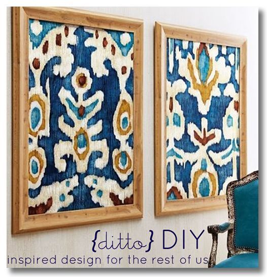 framed fabric: probably easiest way to get expensive or trendy patterns and fabrics in your room