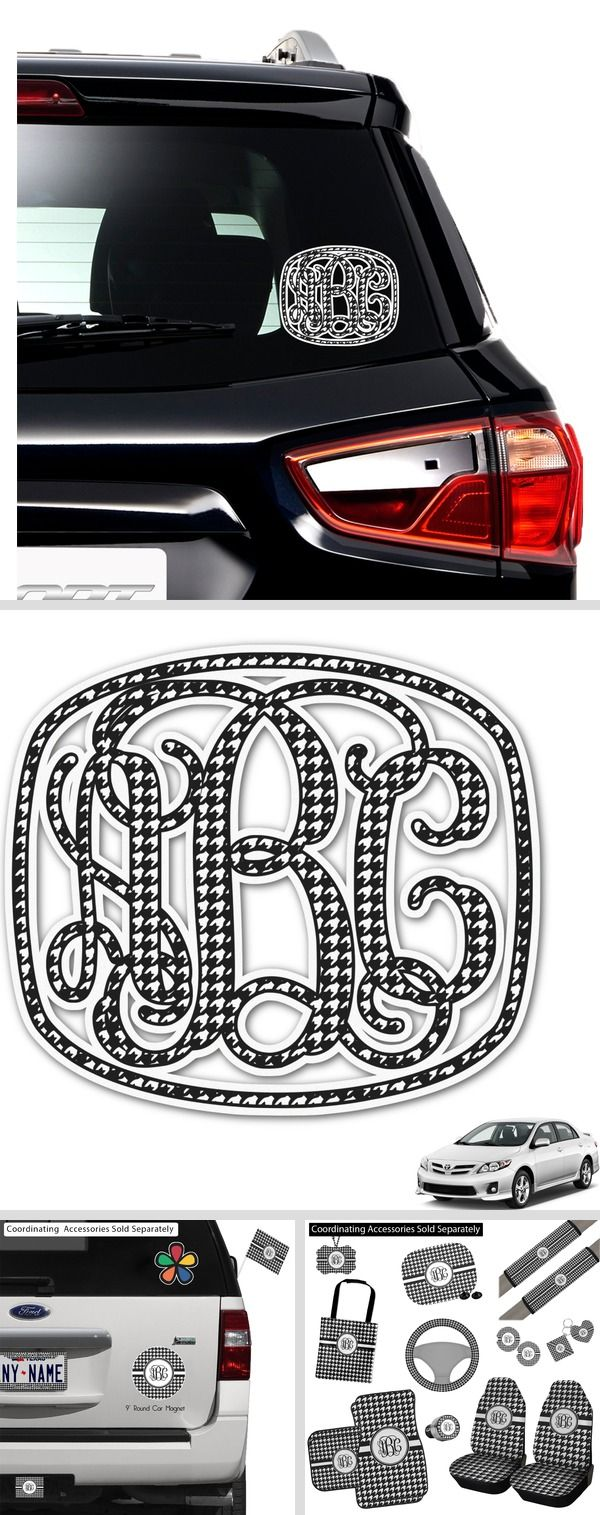Houndstooth Monogram Car Decal Personalized Car Monogram Decal Personalised Car Stickers Initials Decal [ 1515 x 600 Pixel ]