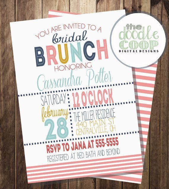 Bridal Shower Brunch InvitationPrintable Digital by TheDoodleCoop, $13.00
