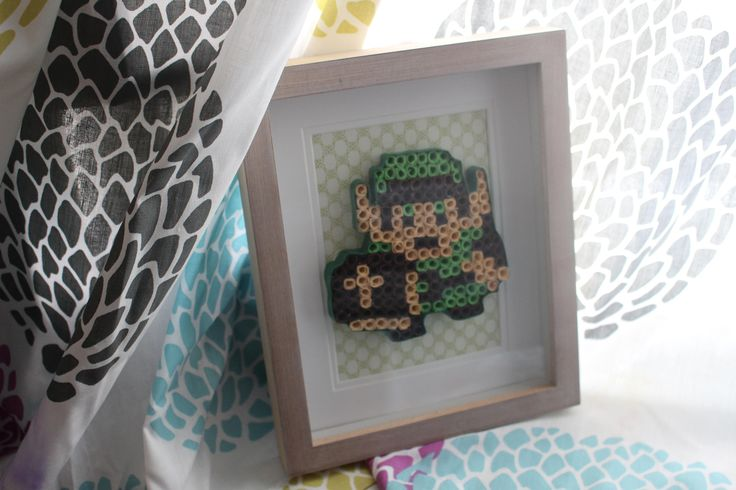 Quilled Paper Art: 8-Bit Link - Nintendo Zelda Art -Pixel Art- 1st anniversary gamer gift - Nerdy gifts for him- Paper anniversary nerd gift by WindsweptQuilling on Etsy