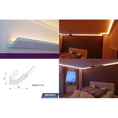 BENDU - Klassische und gleichzeitig moderne LED Stuckleisten bzw. Lichtvouten für indirekte Beleuchtung aus Hartschaum DBKL-75-PR. Ideal kombinierbar mit LED Band oder Lichtschlauch.