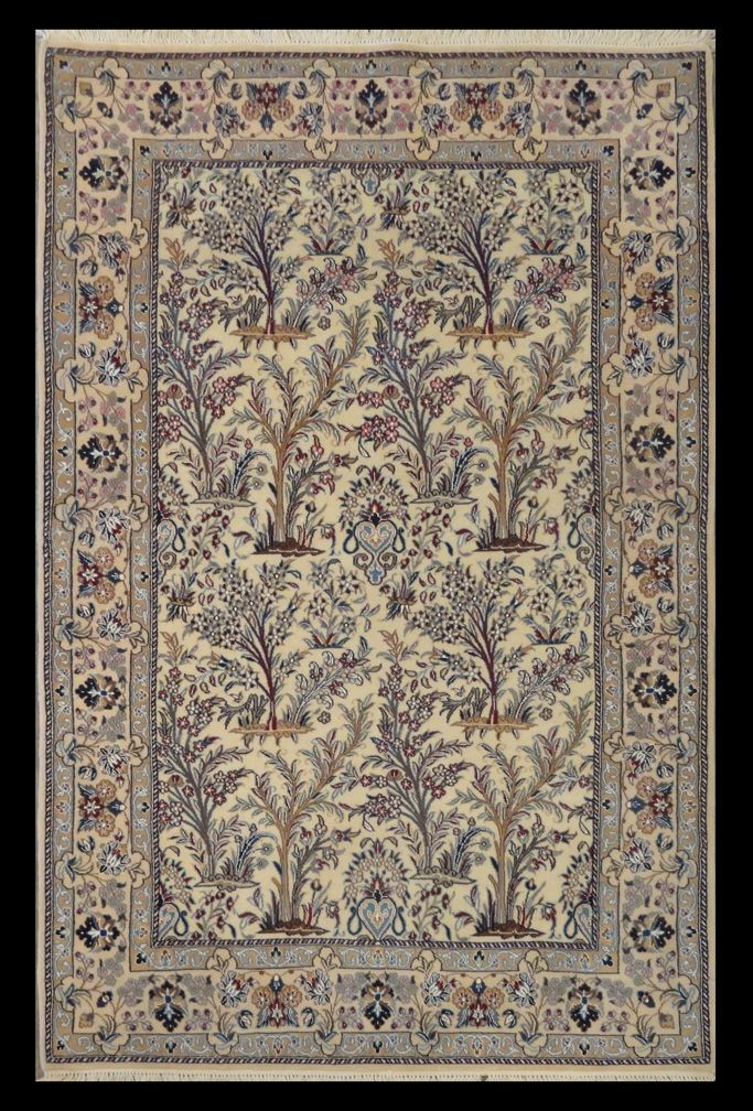"Woodlands Oriental Rug Gallery Persian Nain Silk and Wool ""Tree of Life"" 5'3"" x 3'3"""