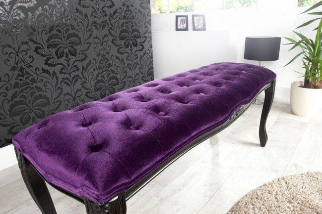 Edle Design Bank BOUTIQUE 115cm Samt Lila