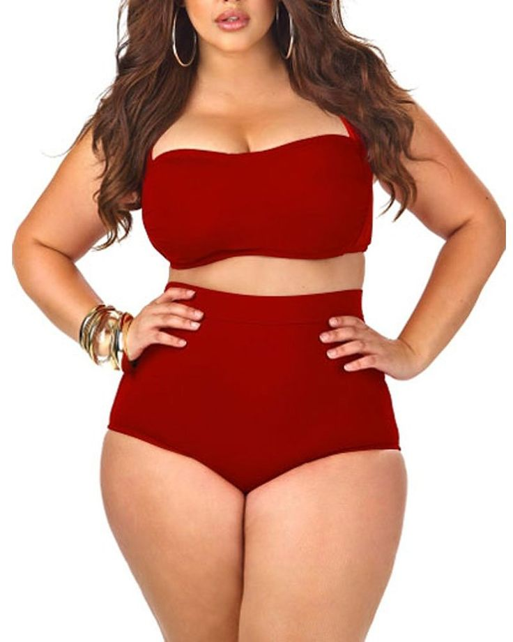 Women's High Waist Halter Bandeau 2 Piece Plus Size Bikini Swimsuit http://amzn.to/1XV3rqg