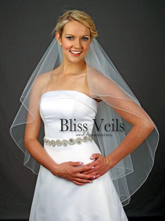 2 couche de voile, voile de mariée doigt, voile Ivoire, blanc voile