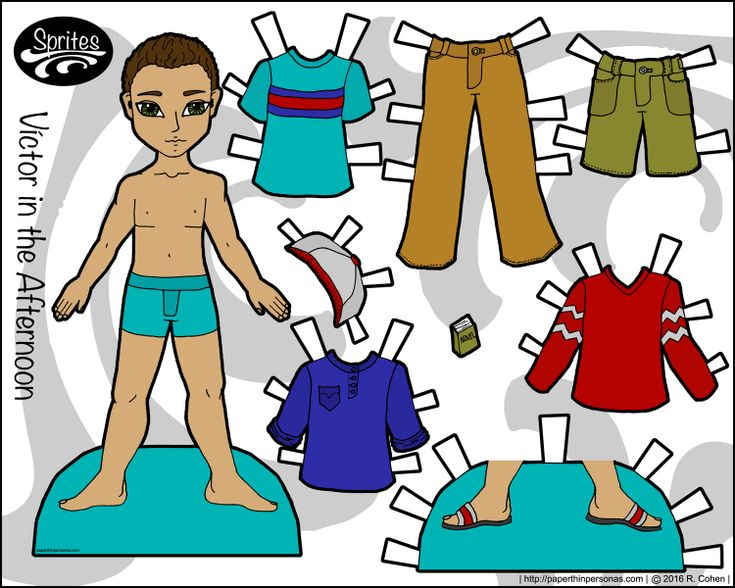 One of several paper dolls for boys on the blog, Victor is a young man with a casual wardrobe of jeans and t-shirts. He's free to print in color from Paperthinpersonas.com