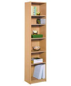 Maine Half Width Tall Extra Deep Bookcase - Beech Effect.