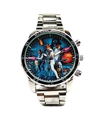 Star Wars Legends The Force Awakens Mens Watches The force awakens with the nostalgia of this classic themed Star Wars watch.The watch features a large face almost 2 inches in diameter. The band is about 8.5 inches by 1 inch. The case itself is almost a half an inch thick. Feel the force of the classic appeal of this watch that features the cast of the original Star Wars movies before the prequels.