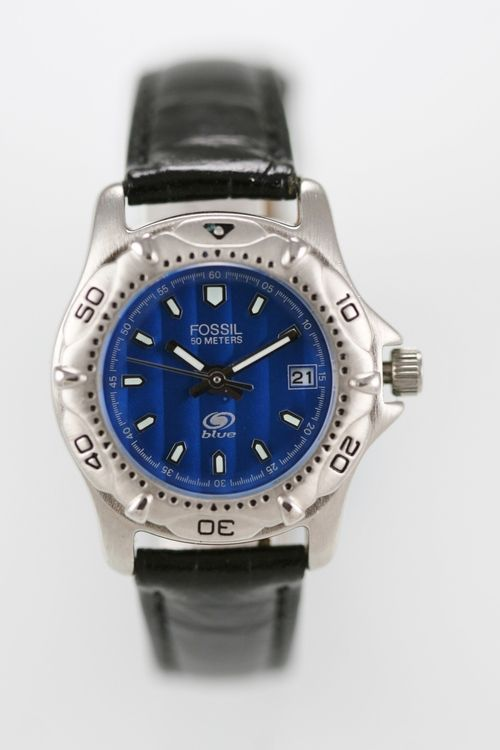 Fossil Blue Women Watch Date Stainless Silver Water Res 50m Leather Black Quartz