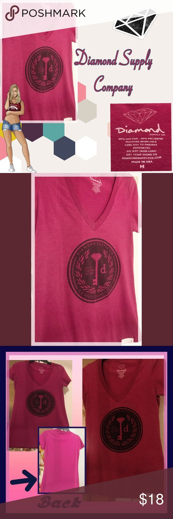 Diamond Supply Tee Gorgeous pop of color in this bright Raspberry/Magenta tee!  Diamond Supply Company logo on front; Deep V-Neck; Excellent Pre-loved condition Diamond Supply Co. Tops Tees - Short Sleeve