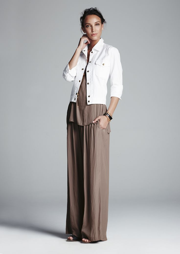 White jeack jacket, clay easy tank, clay maxi pant.