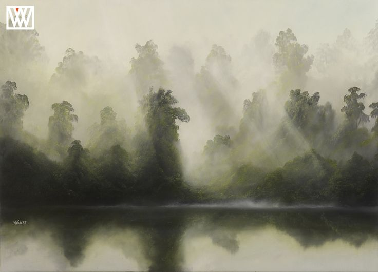 Kahikateas in the Mist-New Zealand art for sale by Wayne Vickers Artist http://waynevickers.com/gallery