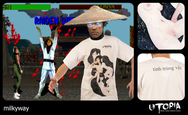 http://www.facebook.com/UtopiaLux Unusual tshirt design. #mortal #tshirt #kombat #fatality #blow #design #lookbook #sick #funny #utopia #marihuana #joint #blood #raiden #milkyway