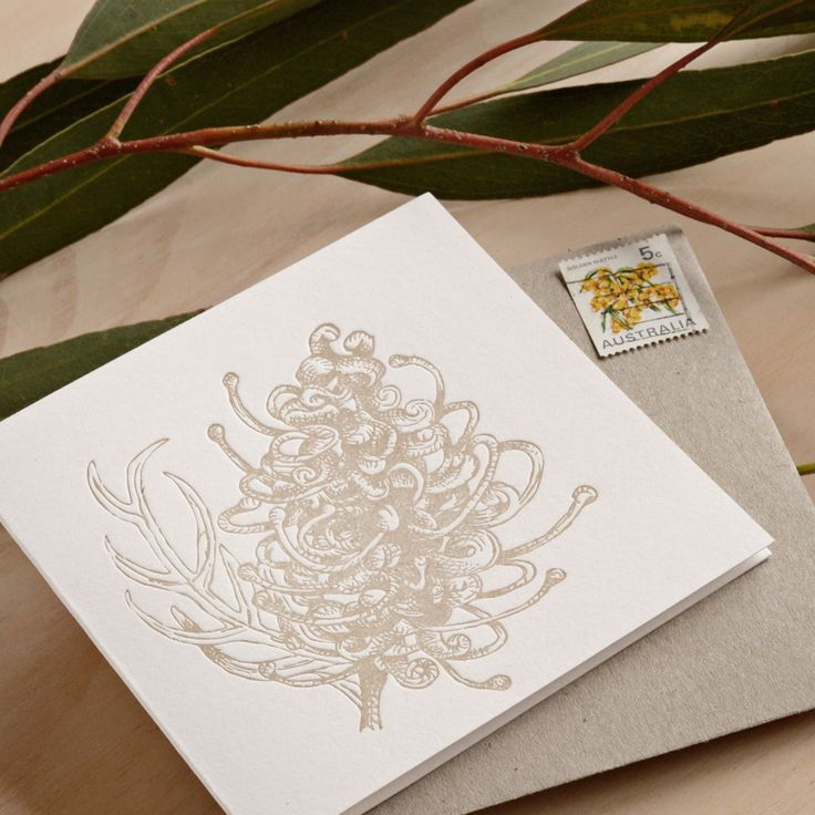Fluid Ink Fine Letterpress of Australia - Botanical native grevillia - The Grevillia is a common Australian bush. It is a favourite amongst the native birds and the blooms are a fresh smile during spring and into the beginning of our long dry summer. 10x10cm card with Kraft envelope  $6.50
