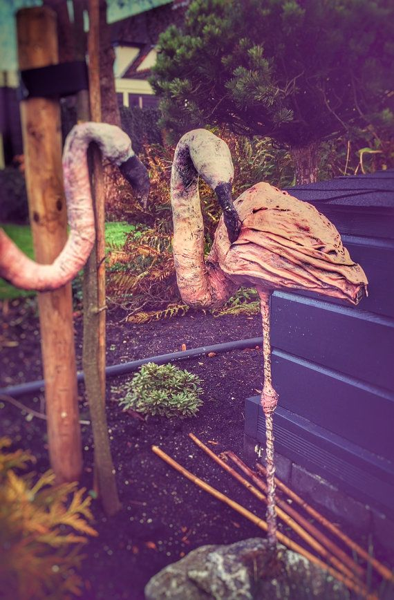 """Deze elegante flamingo kan in een tuin aan het water of bij een vijver geplaatst worden. De olijke kop die zo uit de tuin staat, kijkt nieuwsgierig aan en ontlokt altijd een reactie van voorbijgangers. gemaakt van paverpol en uitstekend geschikt voor buiten. De flamingo's kunnen in verschillende afmetingen gemaakt worden. Speciale prijs voor 2 vogels: € 150,- De maixmale maat is: lxbxh Groot 100 x 50 x 50 cm (40"""" x 20"""" x 20"""")"""