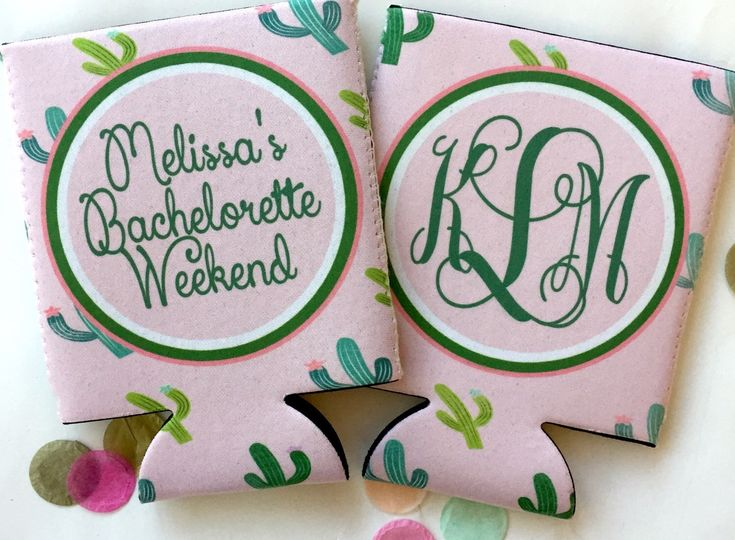 Cactus Bachelorette Party Huggers. Family Vacation Cactus Coolies. Monogrammed Mexican Party Favors. Desert Birthday Party Shower Favors! by BrantPointPrep on Etsy https://www.etsy.com/listing/285549281/cactus-bachelorette-party-huggers-family
