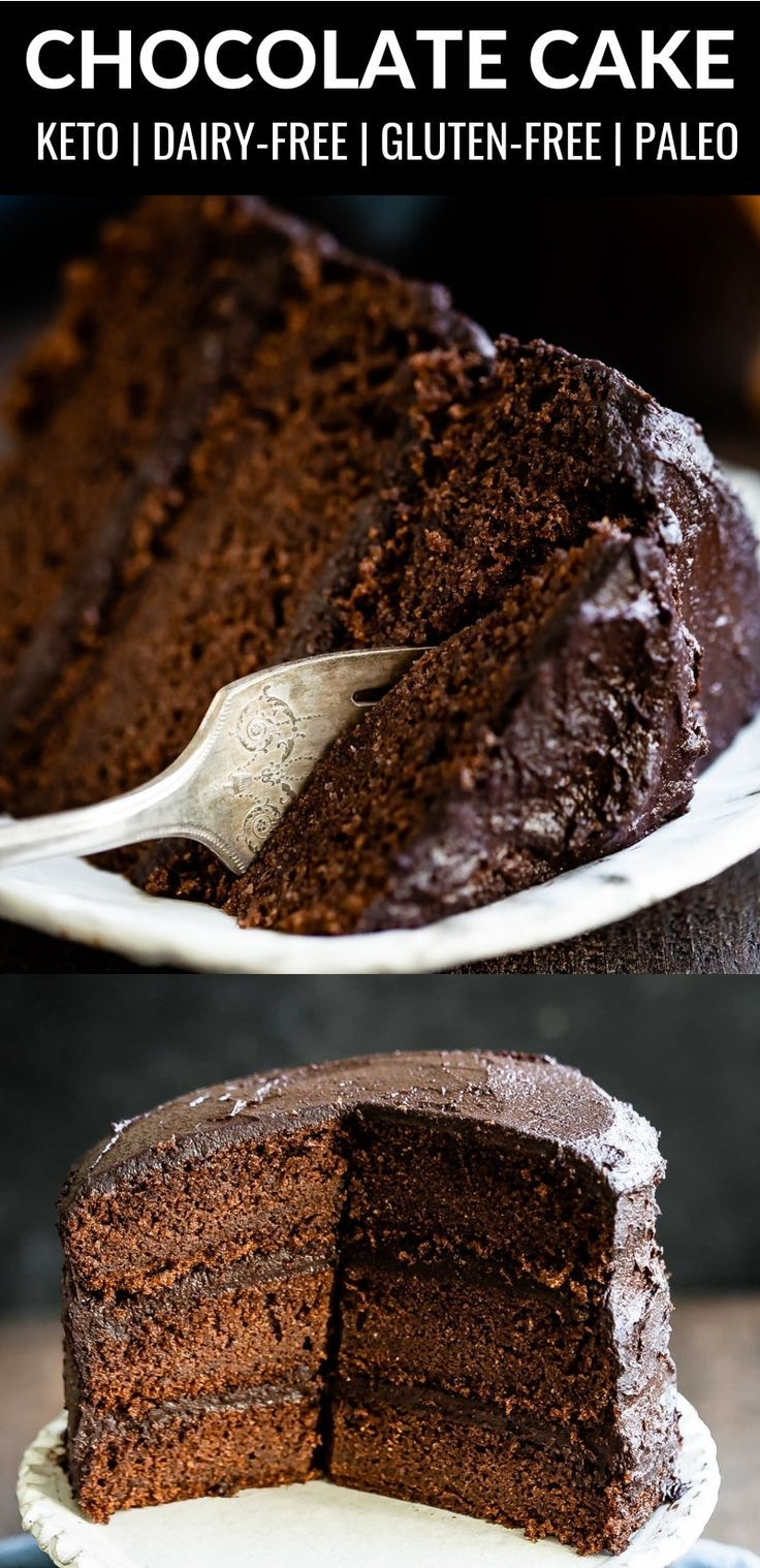 This Easy To Make And Absolutely Delicious Dairy Free Keto Chocolate Cake Is Sugar Free Grain Free An Dairy Free Frosting No Dairy Recipes Keto Chocolate Cake