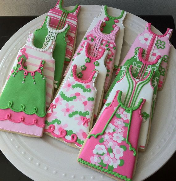 Preppy Pink and Green Lilly Pulitzer Inspired Shift Dress Decorated Cookie by peapodscookies