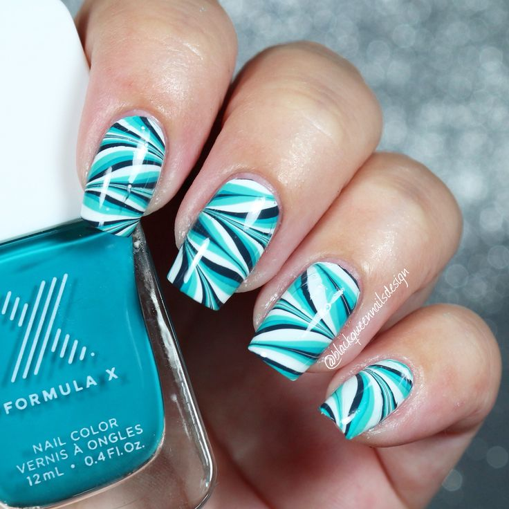 Turquoise watermarble by IG @blackqueennailsdesign