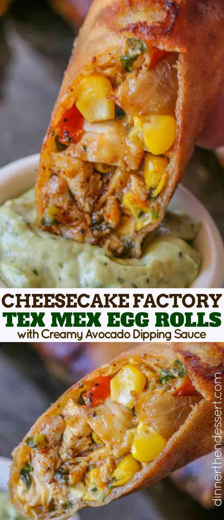Cheesecake Factory Tex Mex Egg Rolls Copycat made with spiced chicken, beans, corn, bell peppers, onions, garlic, cilantro and cheddar cheese in a crispy egg roll with creamy avocado cilantro dipping sauce.