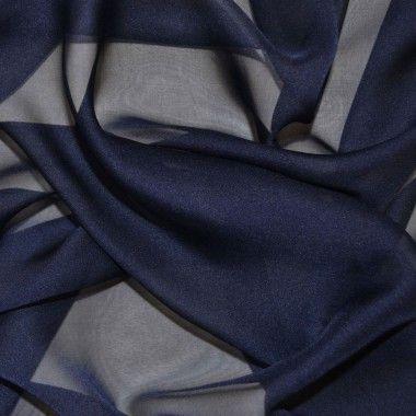 Navy Cationic Chiffon Fabric (Col 35)