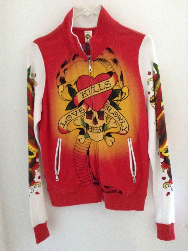 $179 ED HARDY CHRISTIAN AUDIGIER WOMEN JACKET sweater love kill slowly L  large #EdHardy #