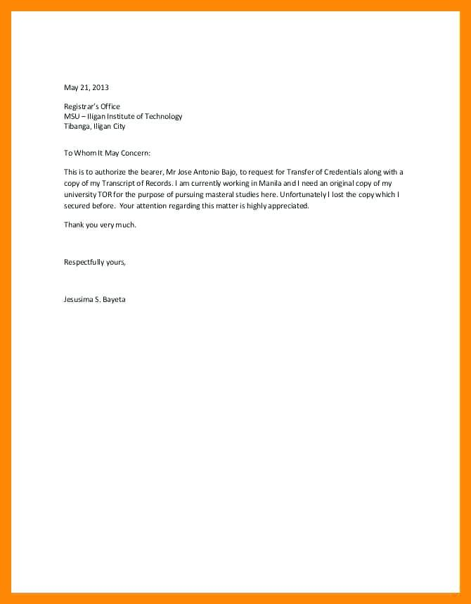 Authorization Letter Format Sample For Processing Of Transcript Of