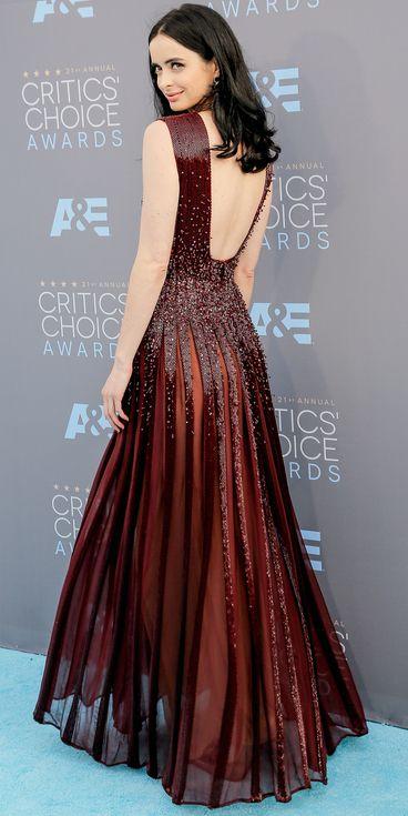 The back of Krysten Ritter's deep red Zuhair Murad dress
